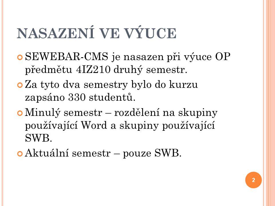 NASAZENÍ VE VÝUCE SEWEBAR-CMS je nasazen při výuce OP předmětu 4IZ210 druhý semestr. Za tyto dva semestry bylo do kurzu zapsáno 330 studentů. Minulý s
