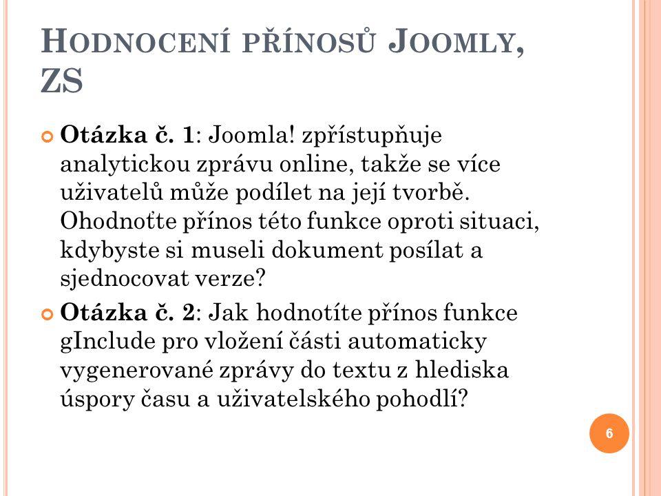 H ODNOCENÍ PŘÍNOSŮ J OOMLY, ZS Otázka č. 1 : Joomla! zpřístupňuje analytickou zprávu online, takže se více uživatelů může podílet na její tvorbě. Ohod