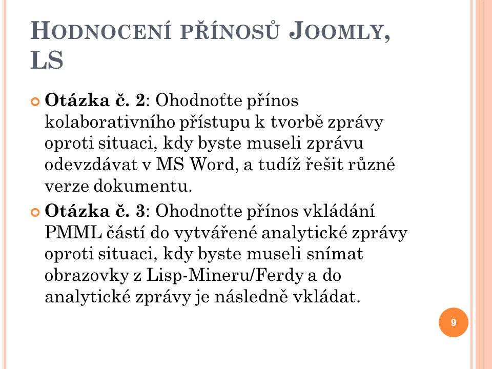 H ODNOCENÍ PŘÍNOSŮ J OOMLY, LS Otázka č.