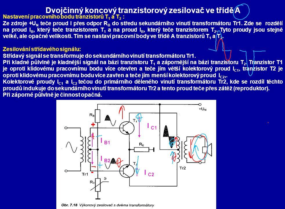 Dvojčinný koncový tranzistorový zesilovač ve třídě A Nastavení pracovního bodu tranzistorů T 1 a T 2 : Ze zdroje +U N teče proud I přes odpor R B do středu sekundárního vinutí transformátoru Tr1.