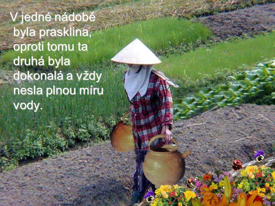 Jedna starší čínská žena měla dvě velké hliněné nádoby. Visely na obou koncích klacku, který nosila zavěšený na krku. Jedna starší čínská žena měla dv