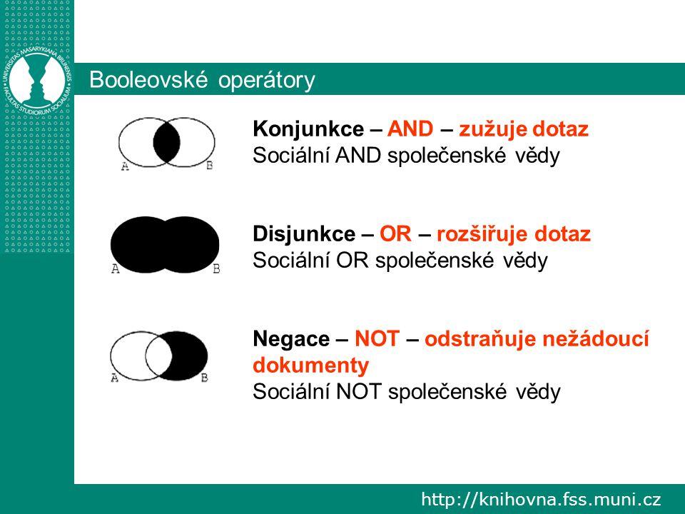 """http://knihovna.fss.muni.cz Vyhledávací nástroje Proximitní operátory (""""vzdálenostní , """"distanční ) - NEAR, WITH, WITHIN Znaménko + (= AND), Znaménko – (= NOT) Krácení podle slovních kořenů Používání zástupných znaků ."""