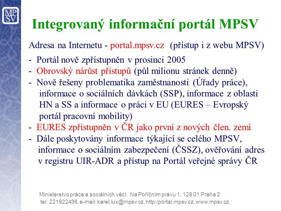 tel: 221922436, e-mail: karel.lux@mpsv.cz, http:/portal.mpsv.cz, www.mpsv.cz, Ministerstvo práce a sociálních věcí, Na Poříčním právu 1, 128 01 Praha 2 Integrovaný informační portál MPSV Adresa na Internetu - portal.mpsv.cz (přístup i z webu MPSV) - Portál nově zpřístupněn v prosinci 2005 - Obrovský nárůst přístupů (půl milionu stránek denně) - Nově řešeny problematika zaměstnanosti (Úřady práce), informace o sociálních dávkách (SSP), informace z oblasti HN a SS a informace o práci v EU (EURES – Evropský portál pracovní mobility) - EURES zpřístupněn v ČR jako první z nových člen.