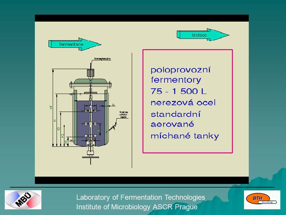 Laboratory of Fermentation Technologies Institute of Microbiology ASCR Prague Pilotní kultivace GMO  spolupráce s R&D producentem enzymových preparátů  vývoj a optimalizace kultivační technologie rekombinantního producenta intracelulárních enzymů  scale-up technologie pro průmyslovou výrobu