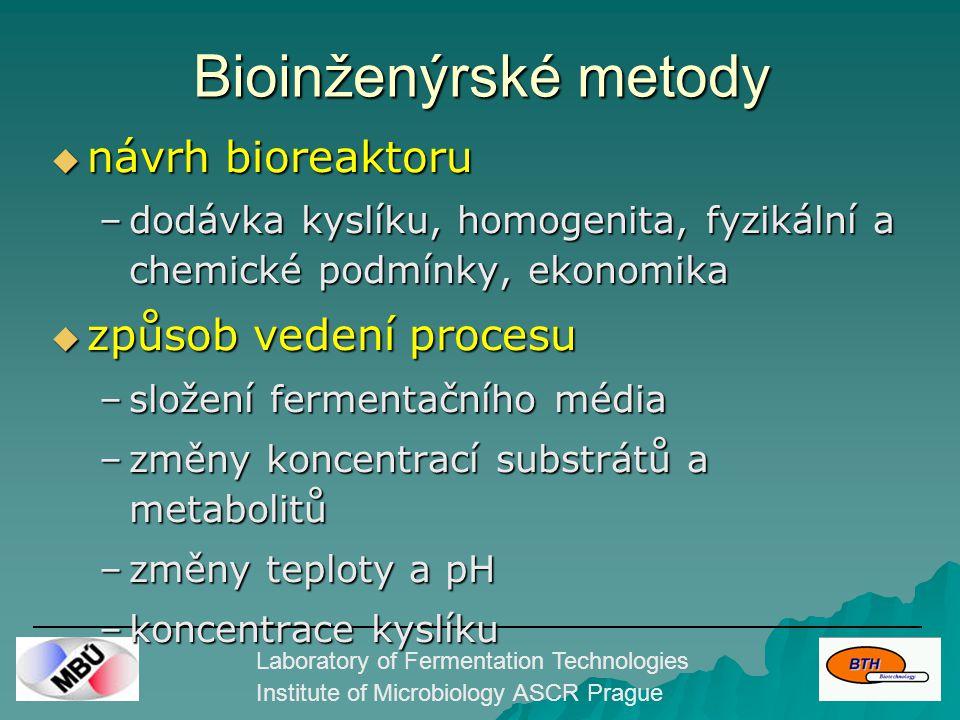 Laboratory of Fermentation Technologies Institute of Microbiology ASCR Prague Chemap 5 L aerobní bioreaktor