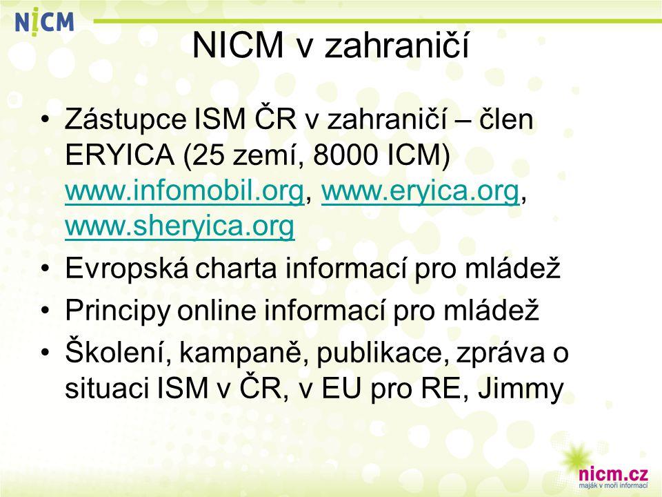 NICM v zahraničí Zástupce ISM ČR v zahraničí – člen ERYICA (25 zemí, 8000 ICM) www.infomobil.org, www.eryica.org, www.sheryica.org www.infomobil.orgww
