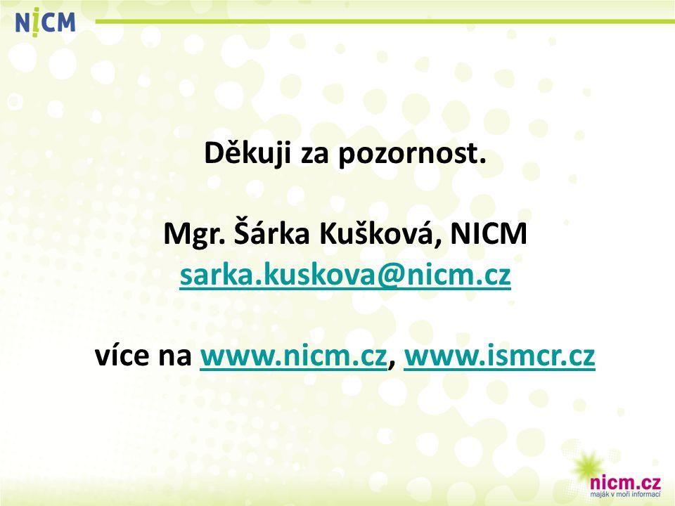Děkuji za pozornost. Mgr. Šárka Kušková, NICM sarka.kuskova@nicm.cz více na www.nicm.cz, www.ismcr.czwww.nicm.czwww.ismcr.cz