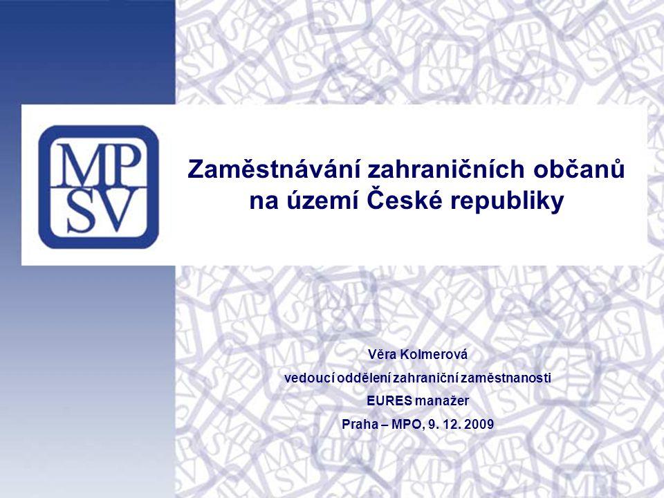 1 Zaměstnávání zahraničních občanů na území České republiky Věra Kolmerová vedoucí oddělení zahraniční zaměstnanosti EURES manažer Praha – MPO, 9.