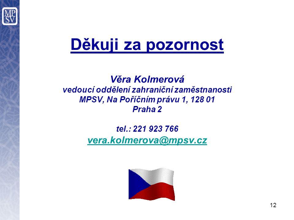 12 Děkuji za pozornost Věra Kolmerová vedoucí oddělení zahraniční zaměstnanosti MPSV, Na Poříčním právu 1, 128 01 Praha 2 tel.: 221 923 766 vera.kolmerova@mpsv.cz vera.kolmerova@mpsv.cz