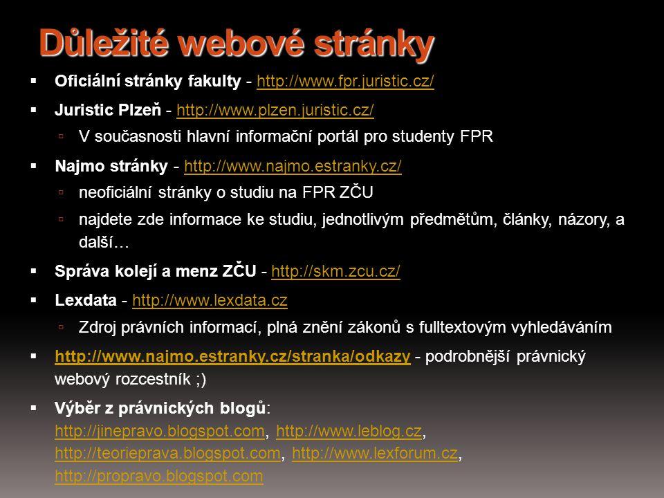Důležité webové stránky  Oficiální stránky fakulty - http://www.fpr.juristic.cz/http://www.fpr.juristic.cz/  Juristic Plzeň - http://www.plzen.juris