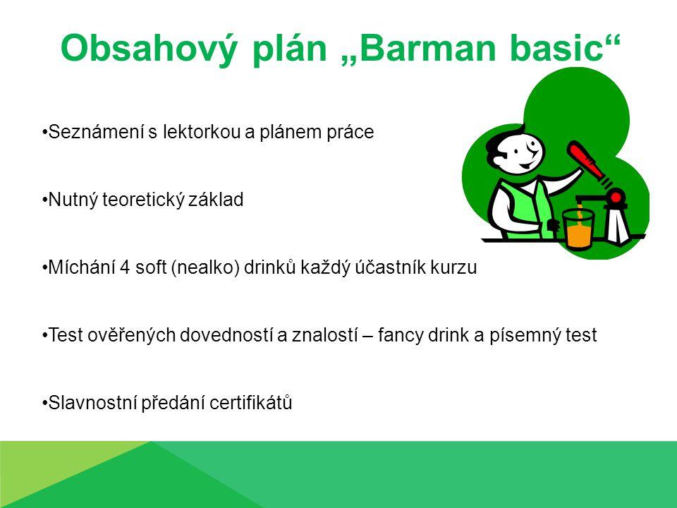 """Obsahový plán """"Barman basic"""" Seznámení s lektorkou a plánem práce Nutný teoretický základ Míchání 4 soft (nealko) drinků každý účastník kurzu Test ově"""