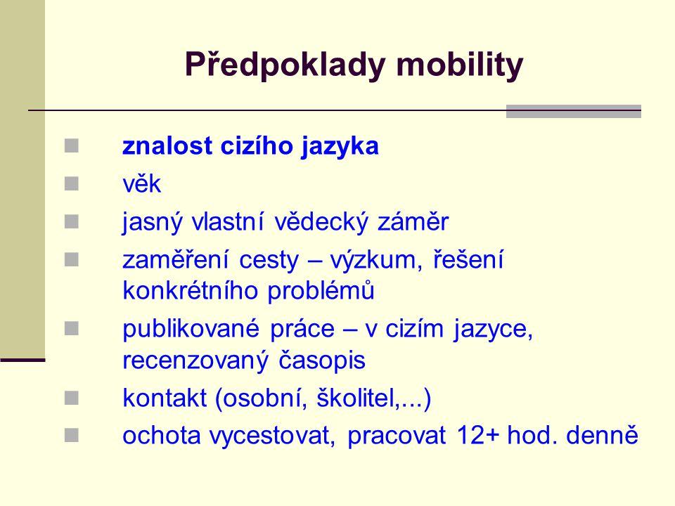 Předpoklady mobility znalost cizího jazyka věk jasný vlastní vědecký záměr zaměření cesty – výzkum, řešení konkrétního problémů publikované práce – v