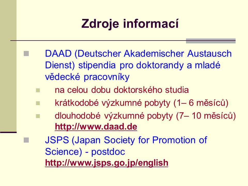 Zdroje informací DAAD (Deutscher Akademischer Austausch Dienst) stipendia pro doktorandy a mladé vědecké pracovníky na celou dobu doktorského studia krátkodobé výzkumné pobyty (1– 6 měsíců) dlouhodobé výzkumné pobyty (7– 10 měsíců) http://www.daad.de http://www.daad.de JSPS (Japan Society for Promotion of Science) - postdoc http://www.jsps.go.jp/english http://www.jsps.go.jp/english