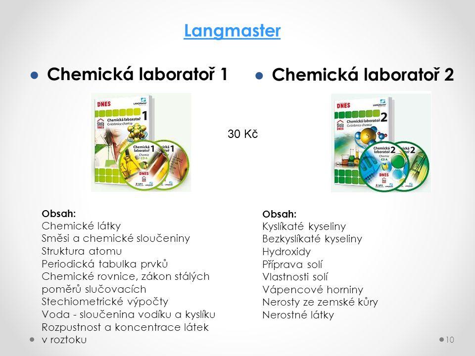 ● Chemická laboratoř 1 10 Langmaster ● Chemická laboratoř 2 Obsah: Chemické látky Směsi a chemické sloučeniny Struktura atomu Periodická tabulka prvků Chemické rovnice, zákon stálých poměrů slučovacích Stechiometrické výpočty Voda - sloučenina vodíku a kyslíku Rozpustnost a koncentrace látek v roztoku Obsah: Kyslíkaté kyseliny Bezkyslíkaté kyseliny Hydroxidy Příprava solí Vlastnosti solí Vápencové horniny Nerosty ze zemské kůry Nerostné látky 30 Kč