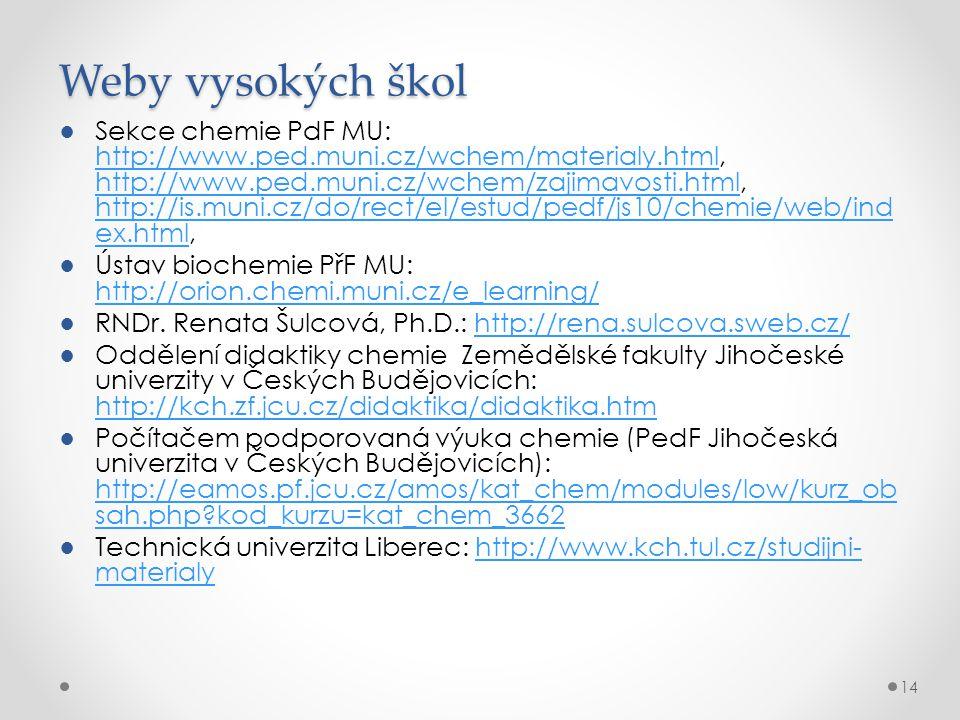 Weby vysokých škol ●Sekce chemie PdF MU: http://www.ped.muni.cz/wchem/materialy.html, http://www.ped.muni.cz/wchem/zajimavosti.html, http://is.muni.cz/do/rect/el/estud/pedf/js10/chemie/web/ind ex.html, http://www.ped.muni.cz/wchem/materialy.html http://www.ped.muni.cz/wchem/zajimavosti.html http://is.muni.cz/do/rect/el/estud/pedf/js10/chemie/web/ind ex.html ●Ústav biochemie PřF MU: http://orion.chemi.muni.cz/e_learning/ http://orion.chemi.muni.cz/e_learning/ ●RNDr.