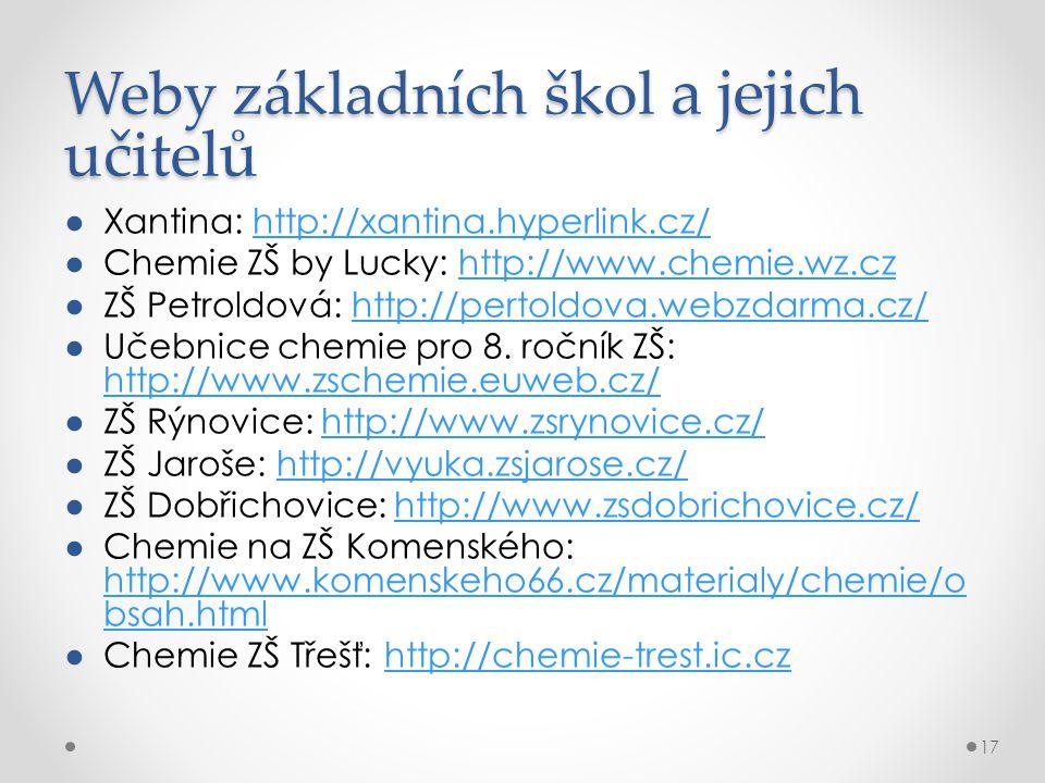 Weby základních škol a jejich učitelů ●Xantina: http://xantina.hyperlink.cz/http://xantina.hyperlink.cz/ ●Chemie ZŠ by Lucky: http://www.chemie.wz.czhttp://www.chemie.wz.cz ●ZŠ Petroldová: http://pertoldova.webzdarma.cz/http://pertoldova.webzdarma.cz/ ●Učebnice chemie pro 8.