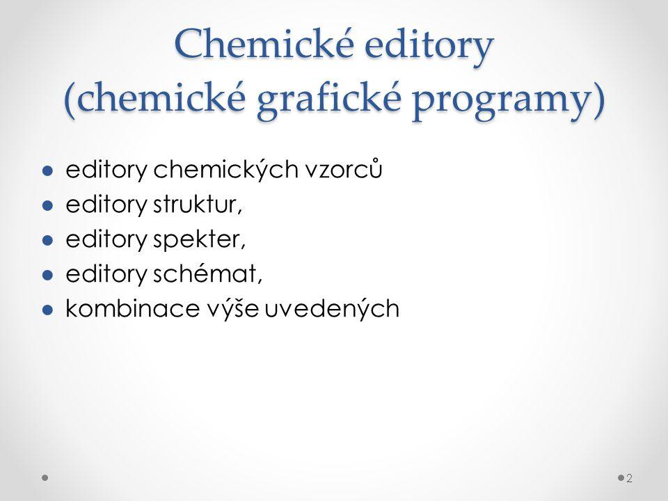 Chemické editory (chemické grafické programy) ●editory chemických vzorců ●editory struktur, ●editory spekter, ●editory schémat, ●kombinace výše uveden