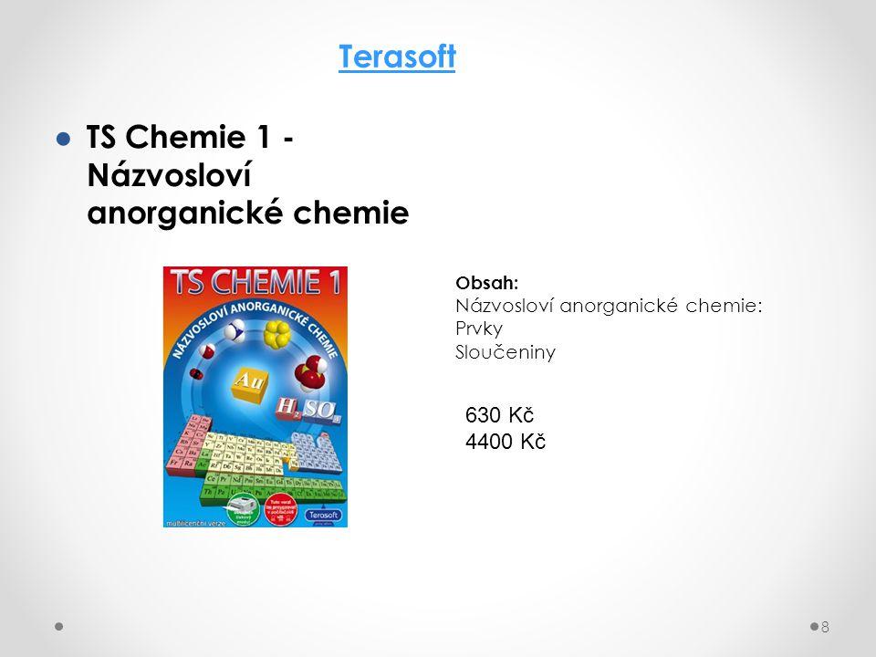 ● TS Chemie 1 - Názvosloví anorganické chemie 8 Terasoft Obsah: Názvosloví anorganické chemie: Prvky Sloučeniny 630 Kč 4400 Kč