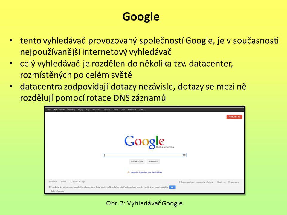 Google tento vyhledávač provozovaný společností Google, je v současnosti nejpoužívanější internetový vyhledávač celý vyhledávač je rozdělen do několika tzv.