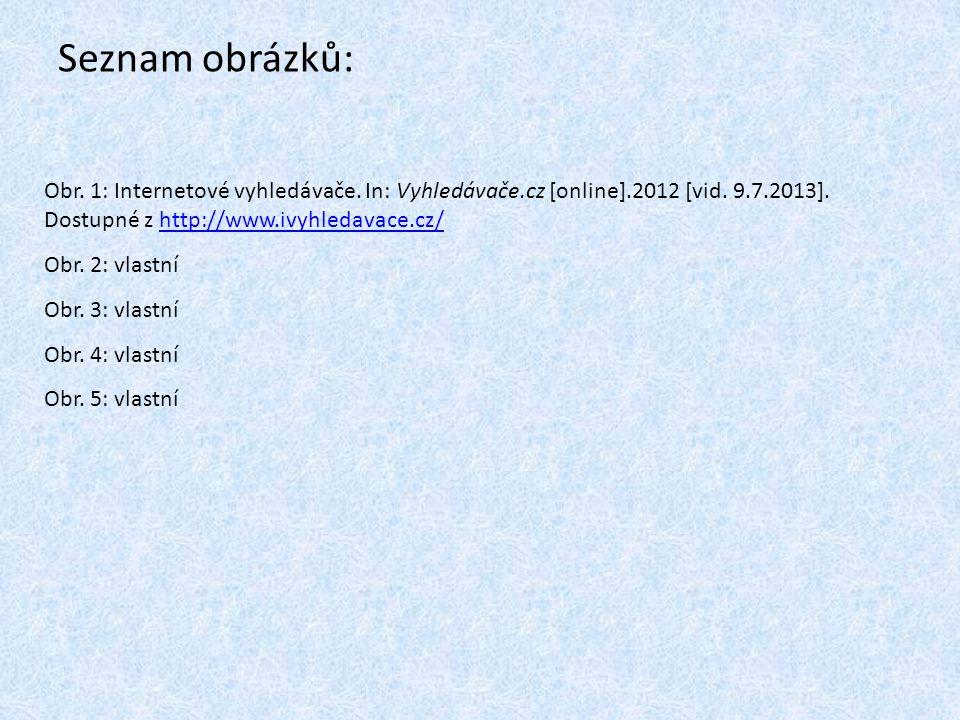 Seznam obrázků: Obr. 1: Internetové vyhledávače. In: Vyhledávače.cz [online].2012 [vid.