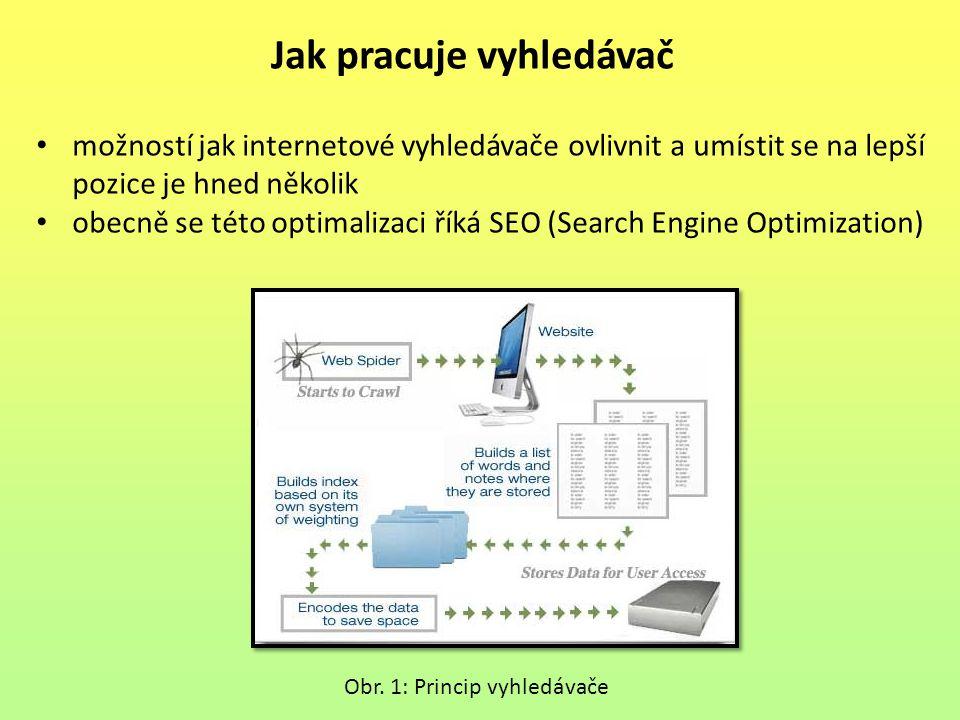 Jak pracuje vyhledávač možností jak internetové vyhledávače ovlivnit a umístit se na lepší pozice je hned několik obecně se této optimalizaci říká SEO (Search Engine Optimization) Obr.