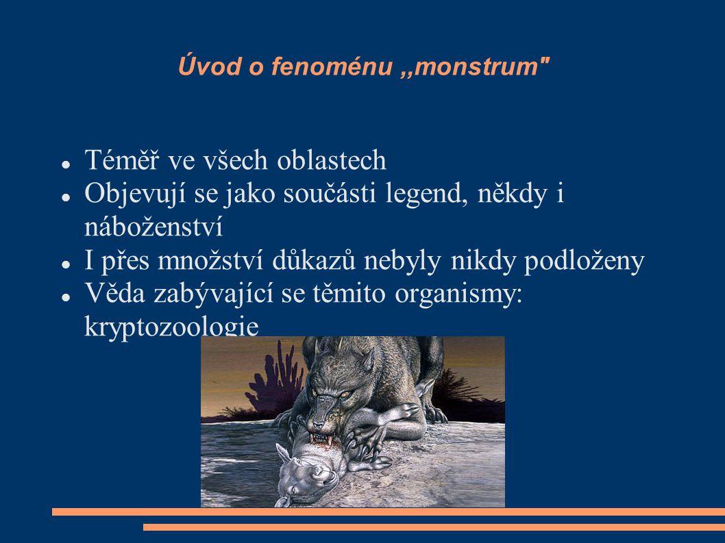 Úvod o fenoménu,,monstrum Téměř ve všech oblastech Objevují se jako součásti legend, někdy i náboženství I přes množství důkazů nebyly nikdy podloženy Věda zabývající se těmito organismy: kryptozoologie