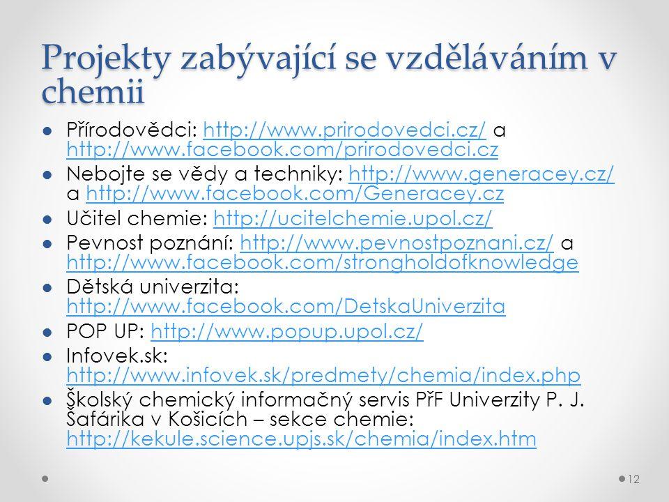 Projekty zabývající se vzděláváním v chemii ●Přírodovědci: http://www.prirodovedci.cz/ a http://www.facebook.com/prirodovedci.czhttp://www.prirodovedci.cz/ http://www.facebook.com/prirodovedci.cz ●Nebojte se vědy a techniky: http://www.generacey.cz/ a http://www.facebook.com/Generacey.czhttp://www.generacey.cz/http://www.facebook.com/Generacey.cz ●Učitel chemie: http://ucitelchemie.upol.cz/http://ucitelchemie.upol.cz/ ●Pevnost poznání: http://www.pevnostpoznani.cz/ a http://www.facebook.com/strongholdofknowledgehttp://www.pevnostpoznani.cz/ http://www.facebook.com/strongholdofknowledge ●Dětská univerzita: http://www.facebook.com/DetskaUniverzita http://www.facebook.com/DetskaUniverzita ●POP UP: http://www.popup.upol.cz/http://www.popup.upol.cz/ ●Infovek.sk: http://www.infovek.sk/predmety/chemia/index.php http://www.infovek.sk/predmety/chemia/index.php ●Školský chemický informačný servis PřF Univerzity P.