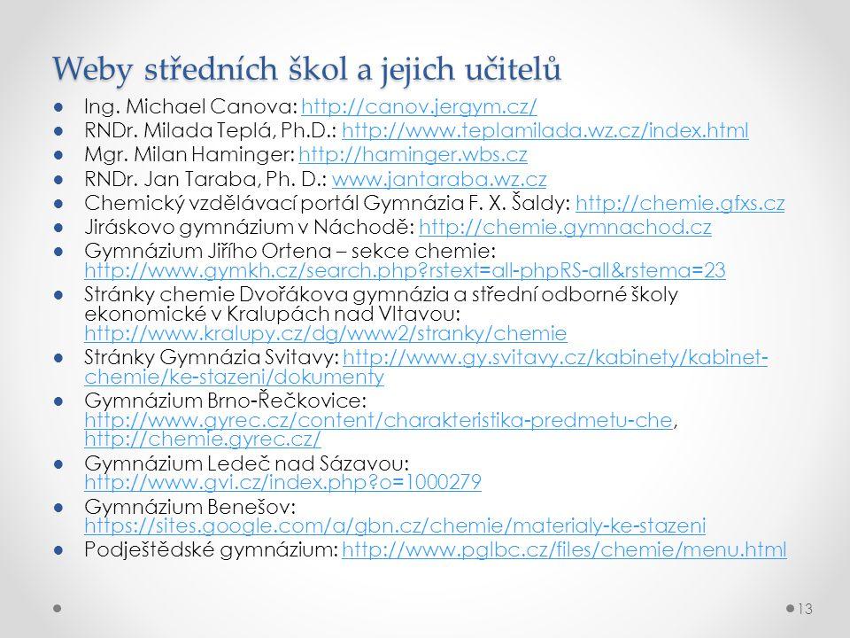 Weby středních škol a jejich učitelů ●Ing. Michael Canova: http://canov.jergym.cz/http://canov.jergym.cz/ ●RNDr. Milada Teplá, Ph.D.: http://www.tepla