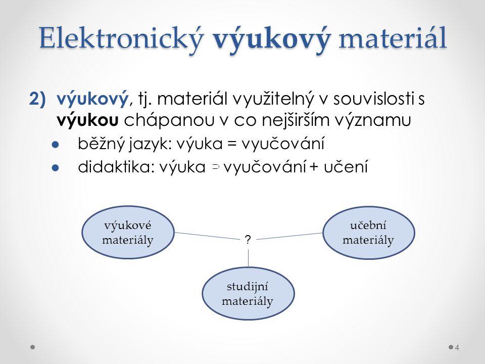 Elektronický výukový materiál 2) výukový, tj. materiál využitelný v souvislosti s výukou chápanou v co nejširším významu ●běžný jazyk: výuka = vyučová