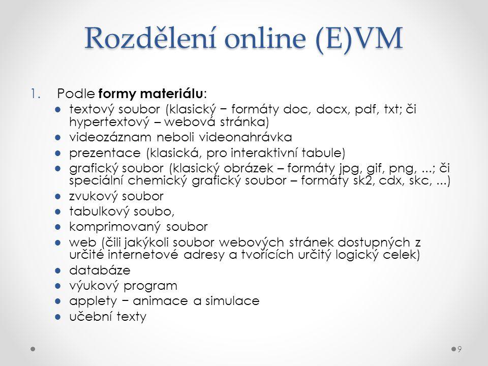 Rozdělení online (E)VM 1.Podle formy materiálu : ●textový soubor (klasický − formáty doc, docx, pdf, txt; či hypertextový – webová stránka) ●videozázn