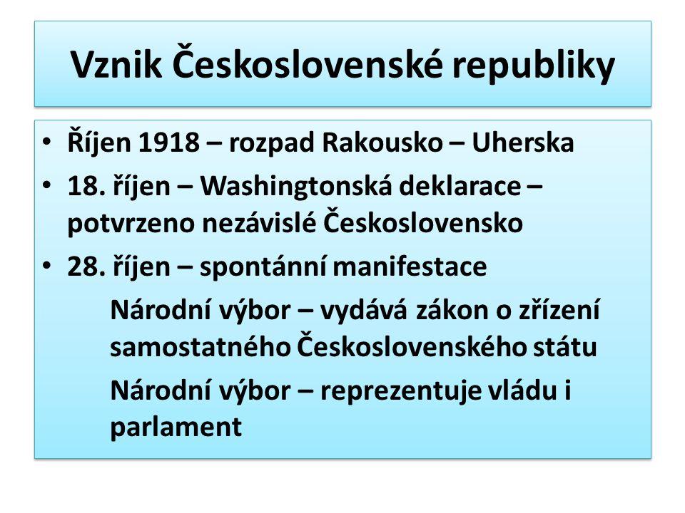 Vznik Československé republiky Říjen 1918 – rozpad Rakousko – Uherska 18. říjen – Washingtonská deklarace – potvrzeno nezávislé Československo 28. říj