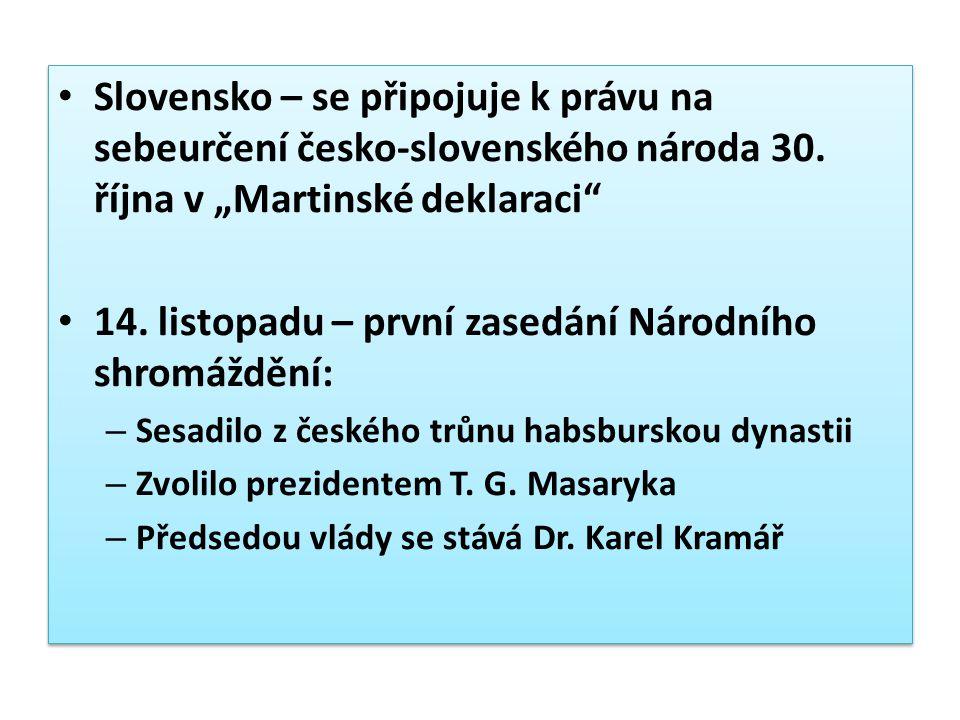 """Slovensko – se připojuje k právu na sebeurčení česko-slovenského národa 30. října v """"Martinské deklaraci"""" 14. listopadu – první zasedání Národního shr"""