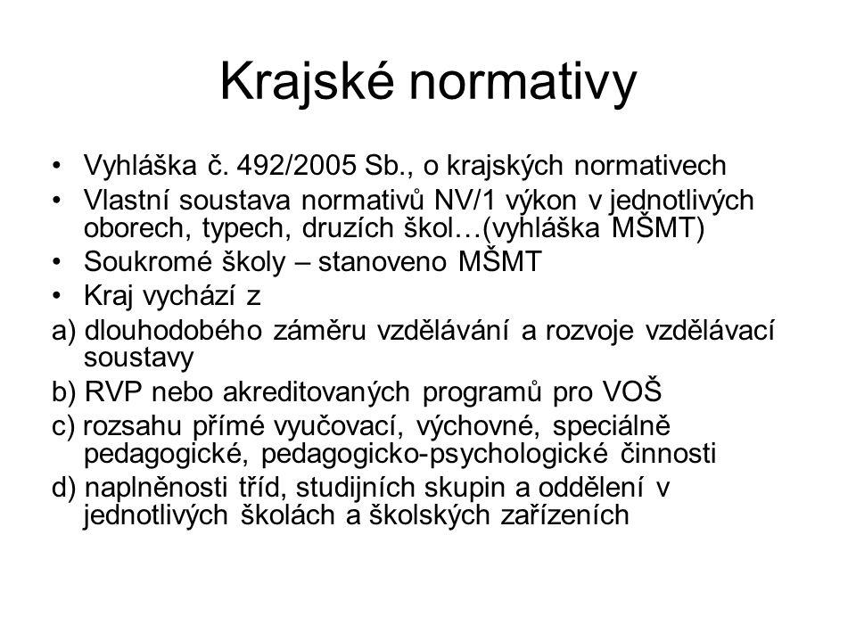Krajské normativy Vyhláška č. 492/2005 Sb., o krajských normativech Vlastní soustava normativů NV/1 výkon v jednotlivých oborech, typech, druzích škol