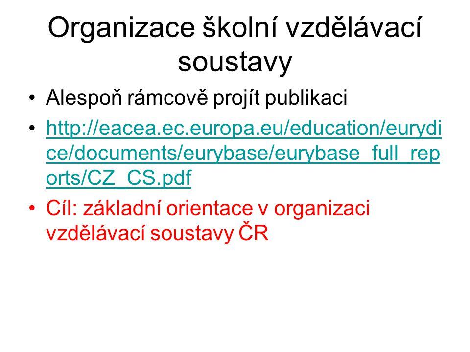 Organizace školní vzdělávací soustavy Alespoň rámcově projít publikaci http://eacea.ec.europa.eu/education/eurydi ce/documents/eurybase/eurybase_full_