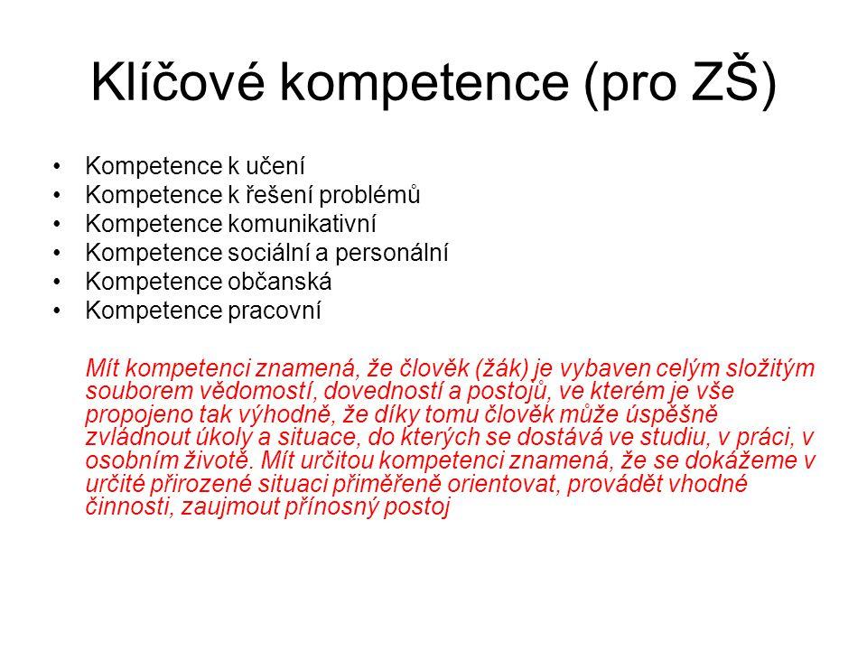 Klíčové kompetence (pro ZŠ) Kompetence k učení Kompetence k řešení problémů Kompetence komunikativní Kompetence sociální a personální Kompetence občan