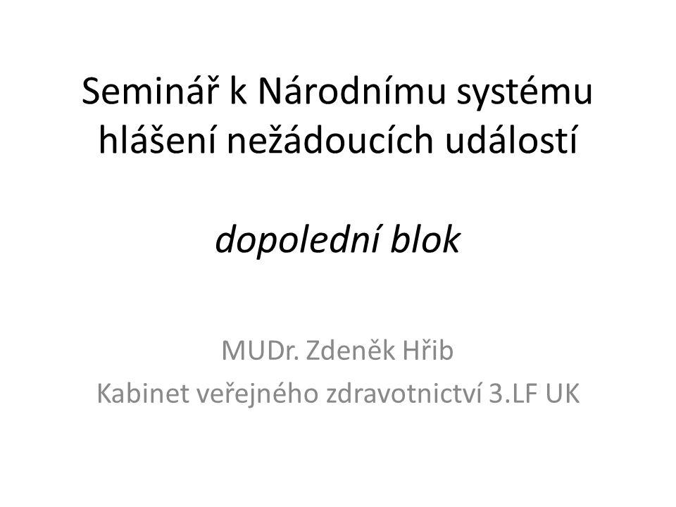 Seminář k Národnímu systému hlášení nežádoucích událostí dopolední blok MUDr. Zdeněk Hřib Kabinet veřejného zdravotnictví 3.LF UK