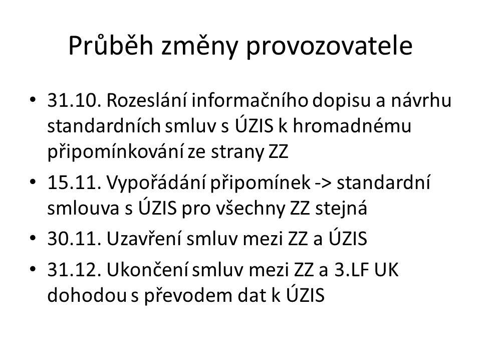 Průběh změny provozovatele 31.10. Rozeslání informačního dopisu a návrhu standardních smluv s ÚZIS k hromadnému připomínkování ze strany ZZ 15.11. Vyp