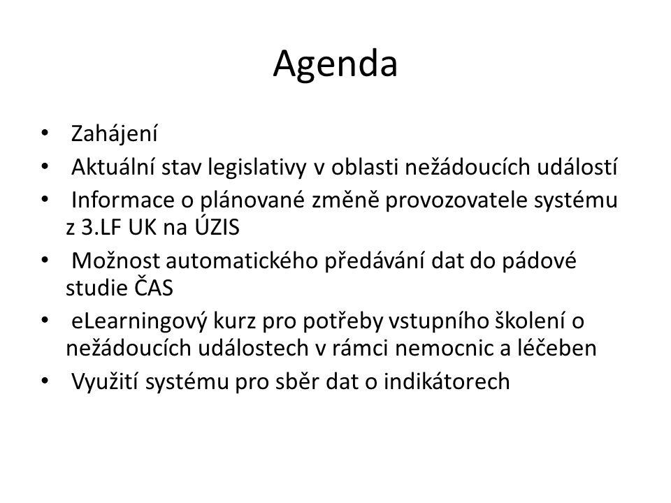 Agenda Zahájení Aktuální stav legislativy v oblasti nežádoucích událostí Informace o plánované změně provozovatele systému z 3.LF UK na ÚZIS Možnost a