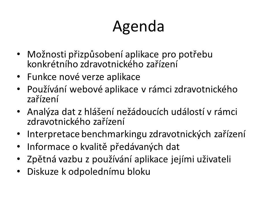 Agenda Možnosti přizpůsobení aplikace pro potřebu konkrétního zdravotnického zařízení Funkce nové verze aplikace Používání webové aplikace v rámci zdr