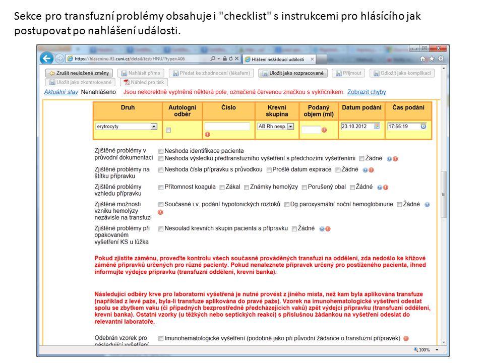 Sekce pro transfuzní problémy obsahuje i