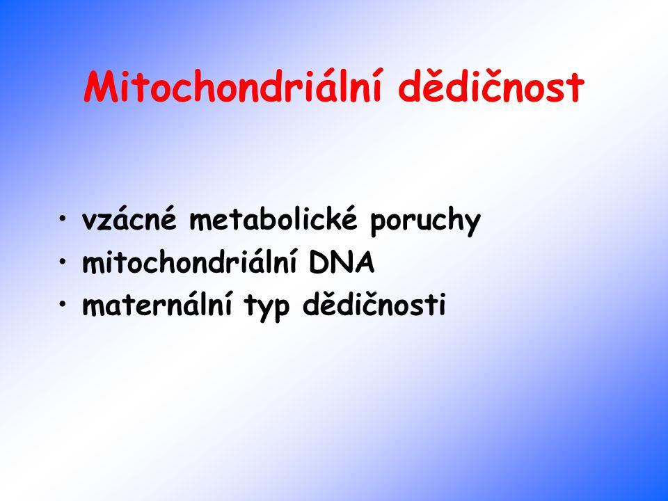 Mitochondriální dědičnost vzácné metabolické poruchy mitochondriální DNA maternální typ dědičnosti