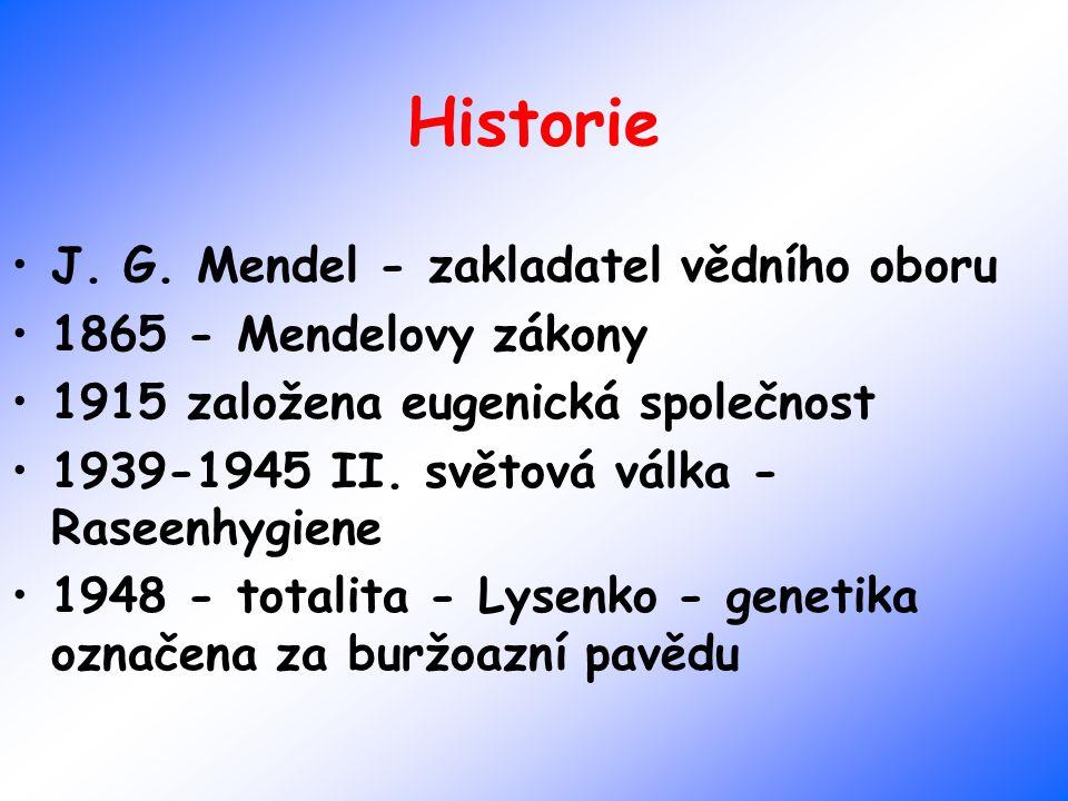 Historie J. G. Mendel - zakladatel vědního oboru 1865 - Mendelovy zákony 1915 založena eugenická společnost 1939-1945 II. světová válka - Raseenhygien