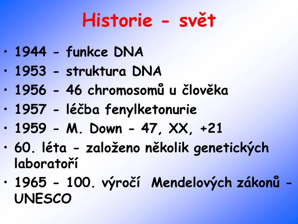 Historie - svět 1944 - funkce DNA 1953 - struktura DNA 1956 - 46 chromosomů u člověka 1957 - léčba fenylketonurie 1959 - M. Down - 47, XX, +21 60. lét