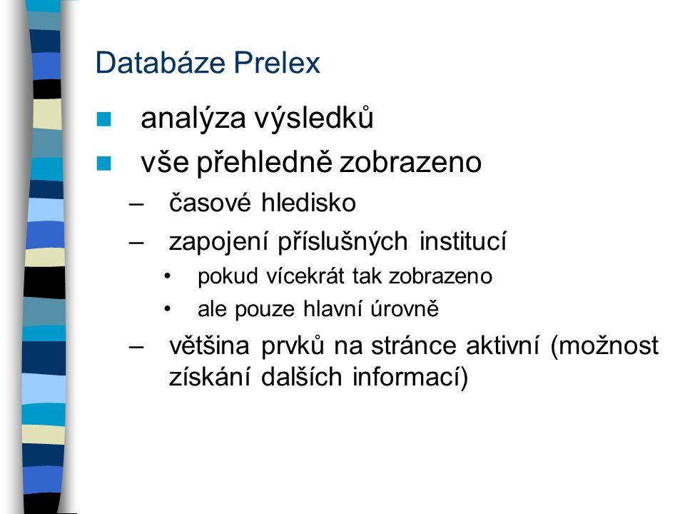 Databáze Prelex analýza výsledků vše přehledně zobrazeno –časové hledisko –zapojení příslušných institucí pokud vícekrát tak zobrazeno ale pouze hlavní úrovně –většina prvků na stránce aktivní (možnost získání dalších informací)