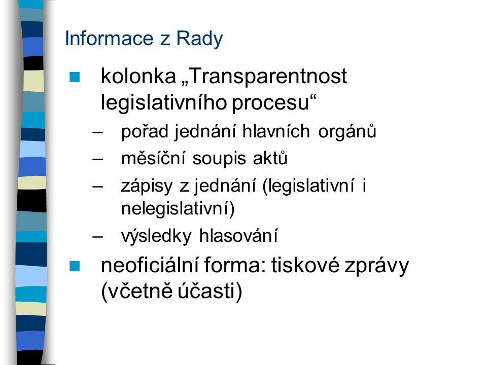 """Informace z Rady kolonka """"Transparentnost legislativního procesu –pořad jednání hlavních orgánů –měsíční soupis aktů –zápisy z jednání (legislativní i nelegislativní) –výsledky hlasování neoficiální forma: tiskové zprávy (včetně účasti)"""