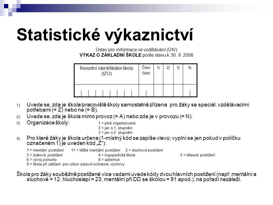 Statistické výkaznictví Ústav pro informace ve vzdělávání (ÚIV) VÝKAZ O ZÁKLADNÍ ŠKOLE podle stavu k 30. 9. 2006 1) Uvede se, zda je škola/pracoviště