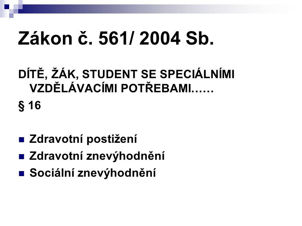 Zákon č. 561/ 2004 Sb. DÍTĚ, ŽÁK, STUDENT SE SPECIÁLNÍMI VZDĚLÁVACÍMI POTŘEBAMI…… § 16 Zdravotní postižení Zdravotní znevýhodnění Sociální znevýhodněn