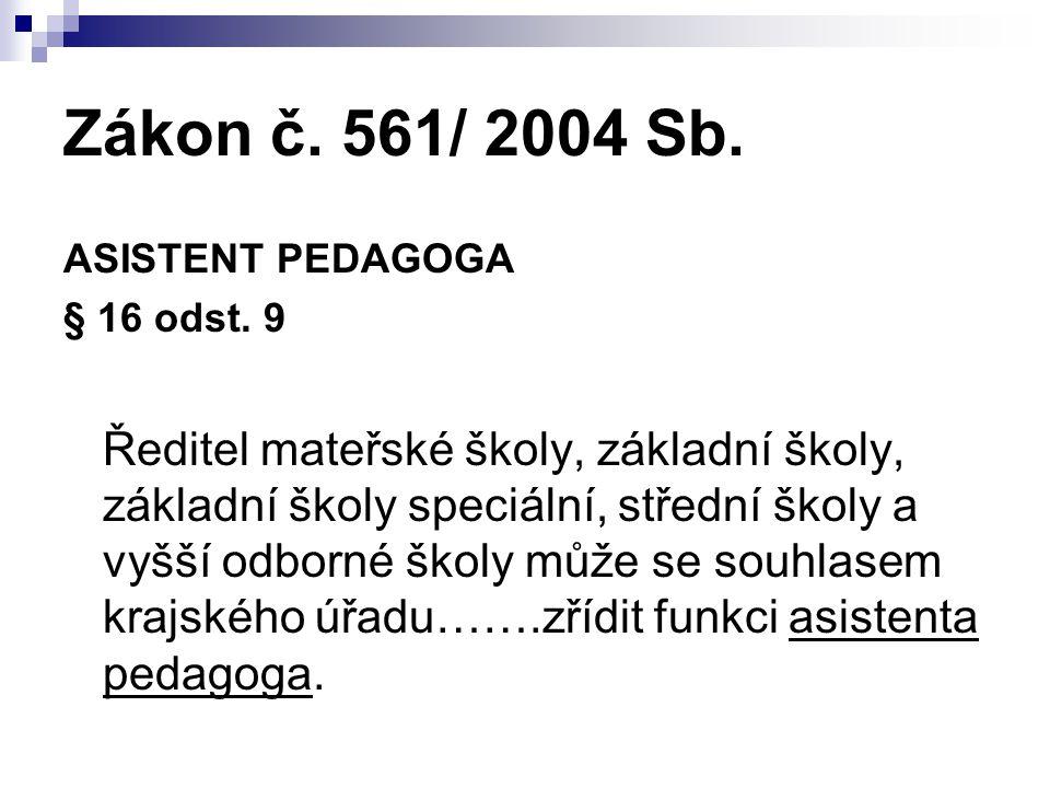 Zákon č. 561/ 2004 Sb. ASISTENT PEDAGOGA § 16 odst. 9 Ředitel mateřské školy, základní školy, základní školy speciální, střední školy a vyšší odborné