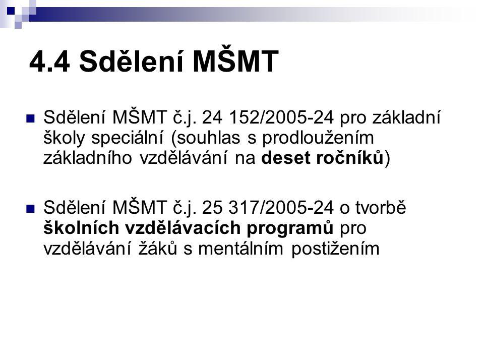 4.4 Sdělení MŠMT Sdělení MŠMT č.j.
