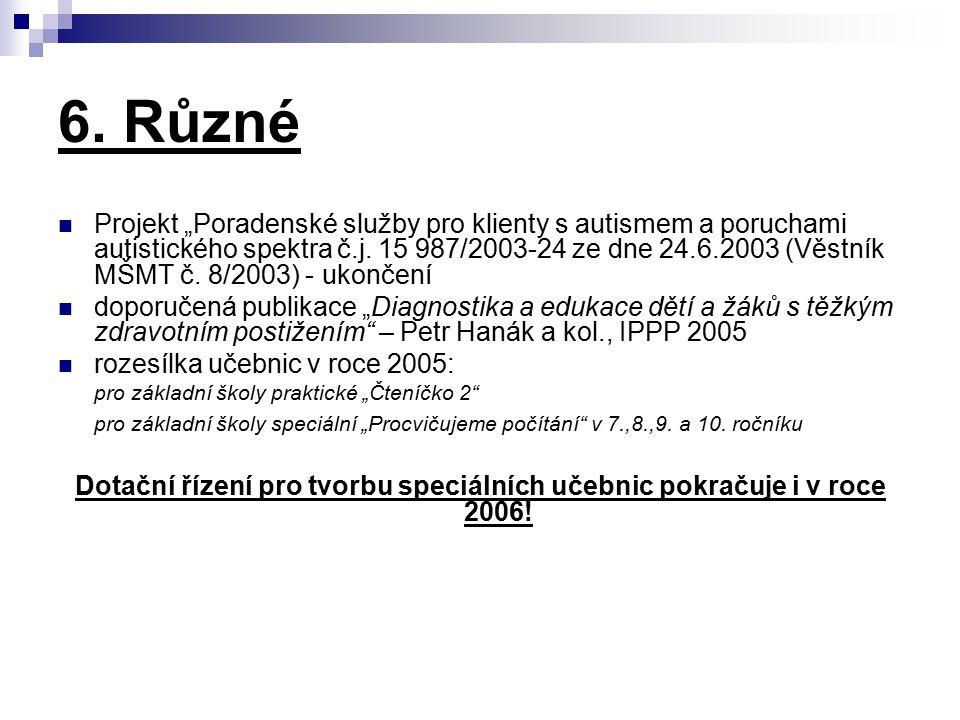 """6. Různé Projekt """"Poradenské služby pro klienty s autismem a poruchami autistického spektra č.j. 15 987/2003-24 ze dne 24.6.2003 (Věstník MŠMT č. 8/20"""